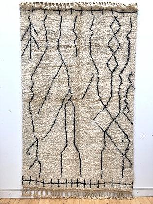 Beni Ouarain à motifs géométriques noirs 2,53x1,56m