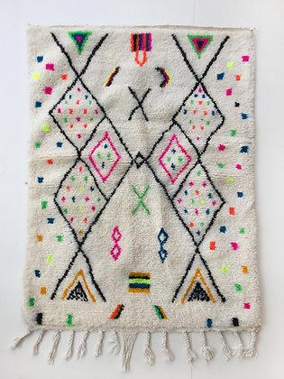 Tapis berbère Azilal à motifs colorés et fluo 1,53x1,11m
