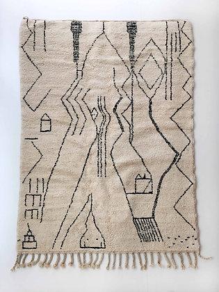 Tapis berbère Beni Ouarain écru à lignes noires 2,47x1,71m