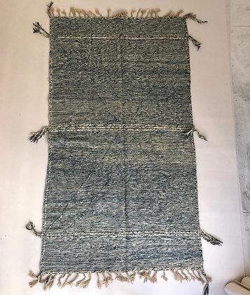 Kilim berbère Zanafi turquoise et écru 2,62x1,47m