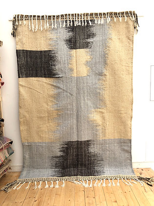 Kilim berbère beige, marron et gris clair 2,9x1,92m