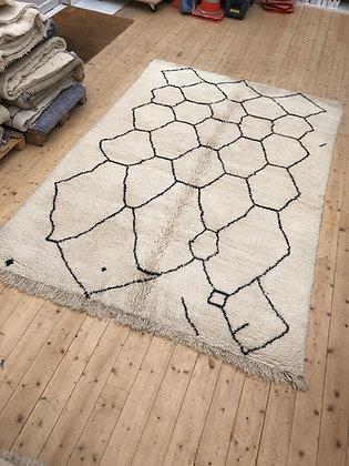 Beni Ouarain 3x2m motifs géométriques noirs