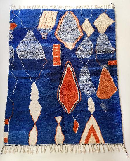 Tapis berbère Boujaad bleu à motifs colorés 2,90x2,15m