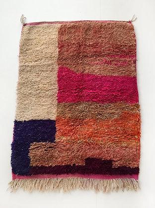 Tapis berbère Boujaad à aplats colorés 1,49x1,10m