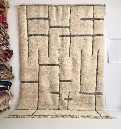 Tapis berbère Beni Ouarain à motifs géométriques graves 3,08x2,10m