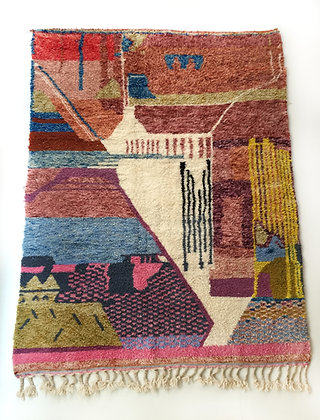 Tapis berbère Beni Ouarain à motifs colorés 2,89x2,04m