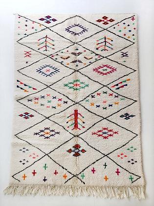 Tapis berbère Beni Ouarain écru à losanges et motifs colorés 2,75x1,77m