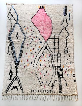 Tapis berbère Azilal écru à motifs colorés 2,97x1,85m