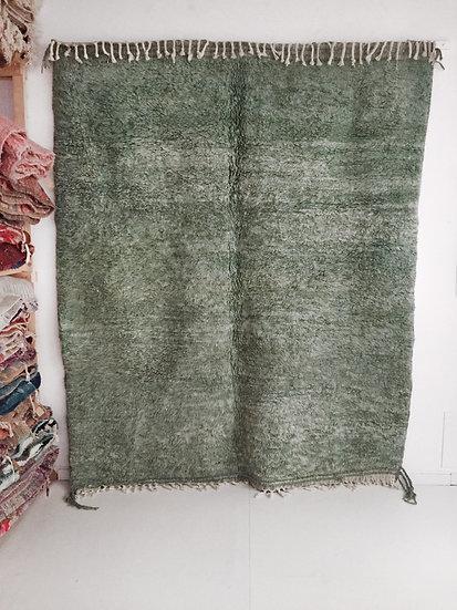 Tapis berbère Beni Ouarain uni vert 2,56x2,16m