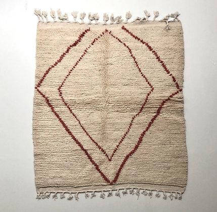 Tapis berbère Beni Ouarain à motif terracotta 1,46x1,28m