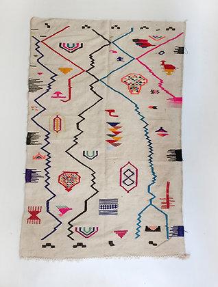 Kilim berbère à motifs colorés 2,31x1,35m