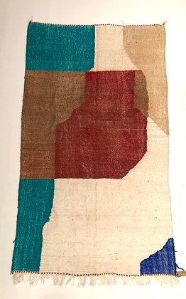 Kilim berbère coloré bleu turquoise écru et terracotta 2,33x1,37m