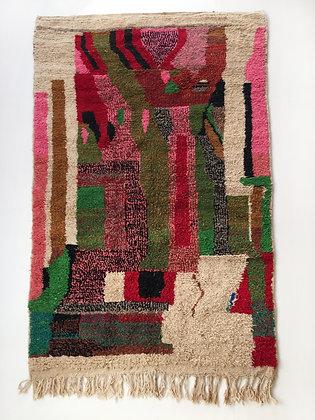Tapis berbère Boujaad écru à motifs colorés 2,50x1,46m