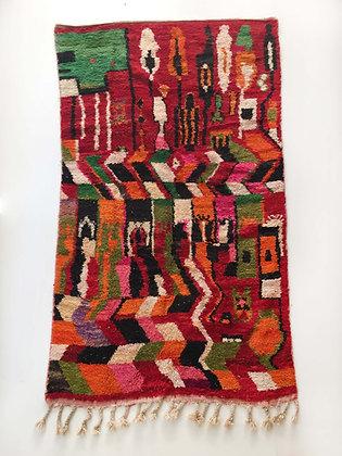 Tapis berbère Boujaad rouge à motifs colorés 2,63x1,47m