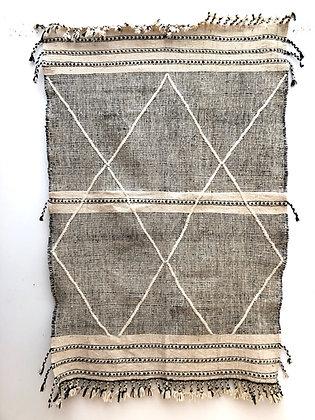 Tapis berbère Kilim Zanafi noir et blanc 2,01x1,35m