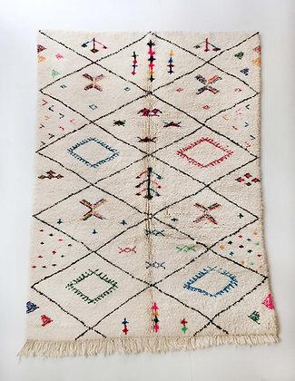 Tapis berbère Beni Ouarain écru à losanges et motifs colorés 2,46x1,71m
