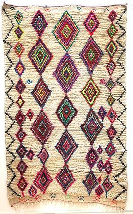 Tapis berbère Azilal à losanges colorés 2,4x1,5m