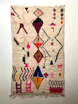 Tapis berbère Azilal à motifs colorés 2,36x1,44m