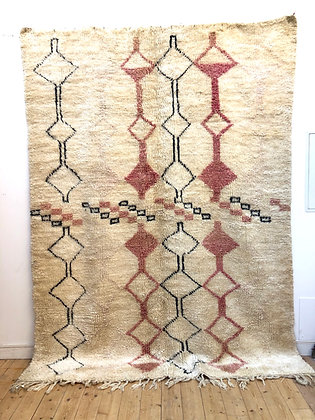 Tapis berbère Marmoucha ancien à motifs roses et noirs 2,82x2,11m