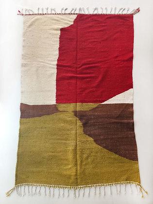 Kilim berbère écru à aplats colorés 2,53x1,48m