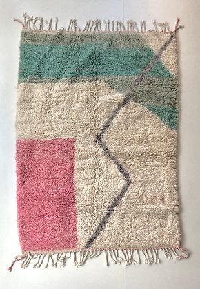 Tapis berbère Beni Ouarain à couleurs pastels 2,11x1,50m