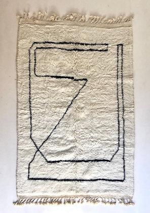 Tapis berbère Beni Ouarain à motifs noirs 2,4x1,58m