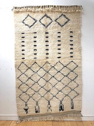 Tapis berbère Beni Ouarain à motifs libres noirs 2,47x1,53m