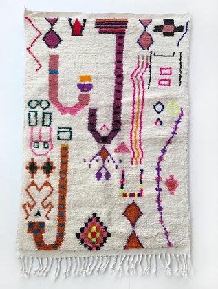 Tapis berbère Azilal à motifs colorés et fluo 1,64x1,06m