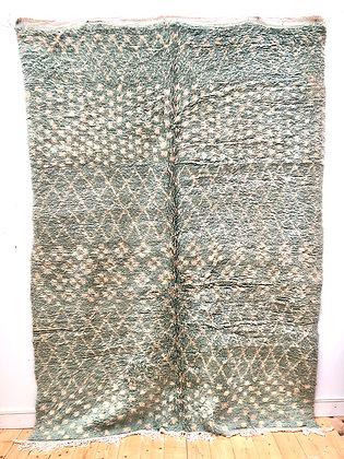 Tapis berbère Boujaad menthe à motifs écru 2,62x1,8m