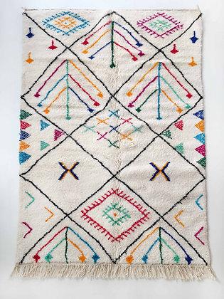 Tapis berbère Azilal écru à motifs colorés 2,60x1,56m