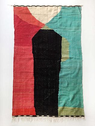 Kilim berbère à aplats colorés 2,75x1,48m