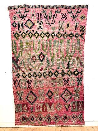 Tapis Boujaad à motifs colorés dominante vieux rose et menthe 2,61x1,57m