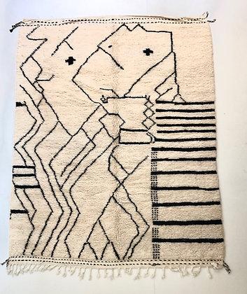 Tapis berbère Beni Ouarain à motifs graphiques noirs 2,52x2,03m