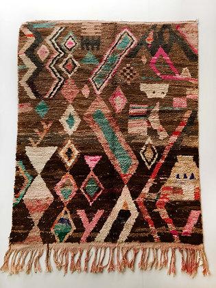 Tapis berbère Boujaad brun à motifs colorés 2,50x1,80m