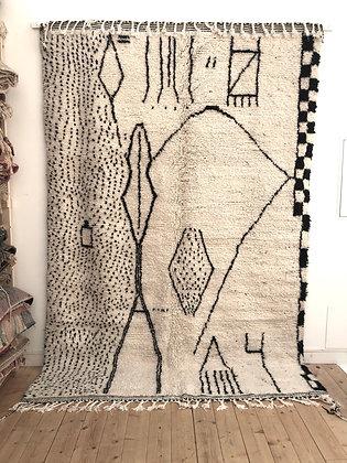 Tapis berbère Beni Ouarain à motifs graphiques noirs 3x2,03m