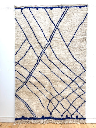 Tapis berbère Beni Ouarain à lignes bleu majorelle 2,57x1,61m