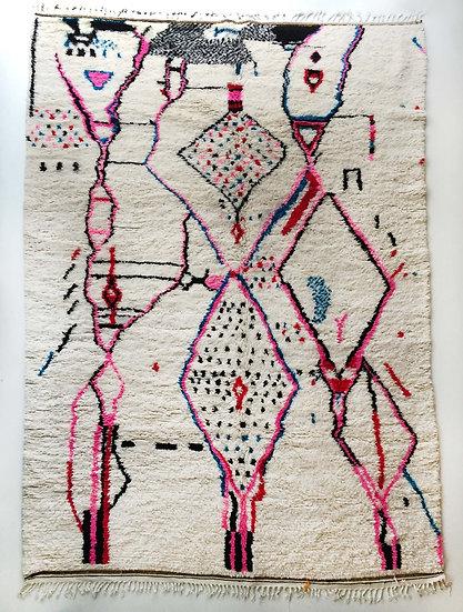 Tapis berbère Azilal écru à motifs colorés 3,13x2m