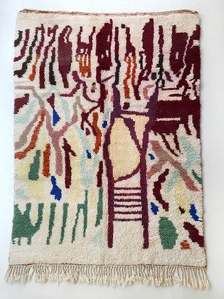 Tapis berbère Beni Ouarain écru à motifs colorés 2,46x1,58m