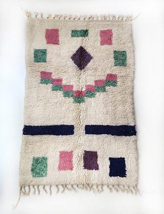 Tapis berbère Beni Ouarain écru à motifs colorés 2,56x1,55m