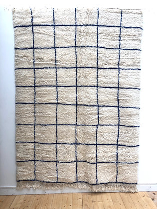 Tapis berbère Beni Ouarain à carreaux bleu majorelle 2,49x1,73m