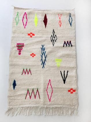 Tapis berbère Azilal à motifs colorés et fluo 1,57x1,05m