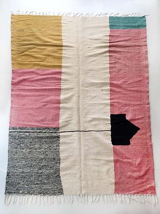 Kilim berbère écru à motifs colorés 3x2,03m