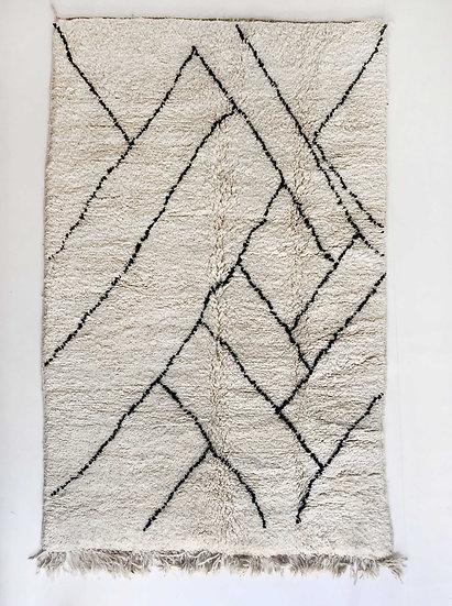 Tapis berbère Beni Ouarain à motifs graphiques noirs 2,36x1,55m