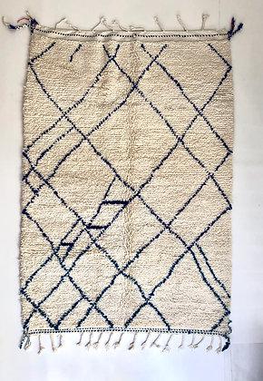 Tapis berbère Beni ouarain à motifs bleu majorelle 2,33x1,61m