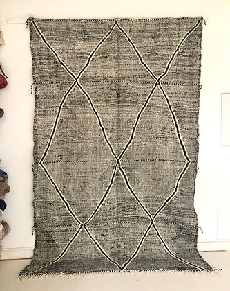 Kilim berbère Zanafi noir et blanc 2,93x1,85m