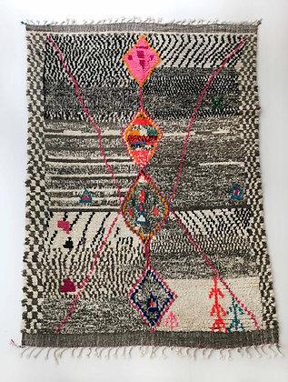 Tapis berbère Azilal gris à motifs colorés 2,83x1,92m