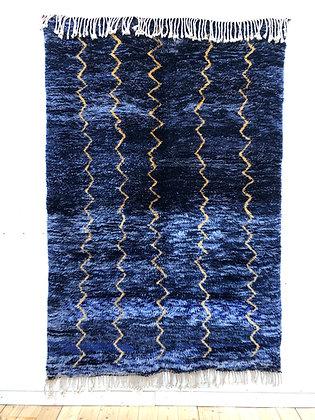 M'rirt bleu à motifs jaunes 2,46x1,63m