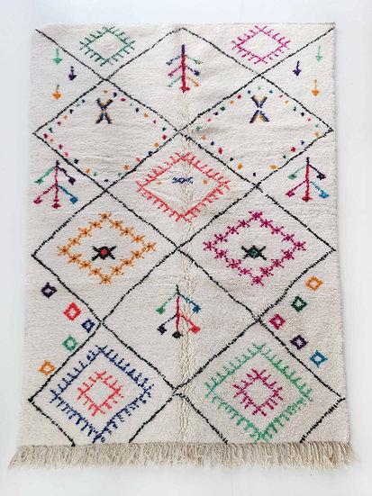 Tapis berbère Azilal écru à motifs colorés 2,49x1,60m