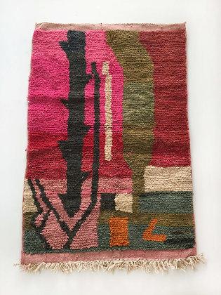Tapis berbère Boujaad à motifs colorés 1,53x1,04m