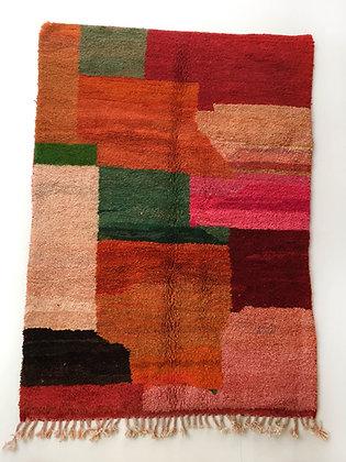Tapis berbère Boujaad à aplats colorés 2,51x1,62m